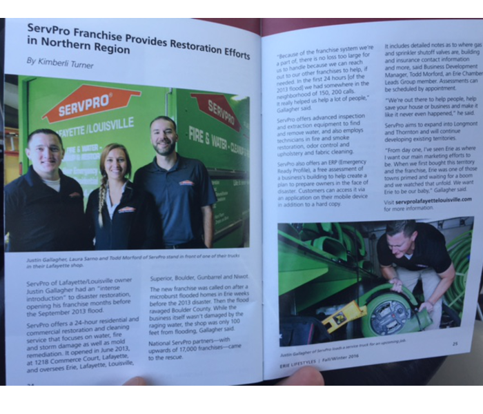 Our SERVPRO team was featured in the Erie Lifestyles Magazine