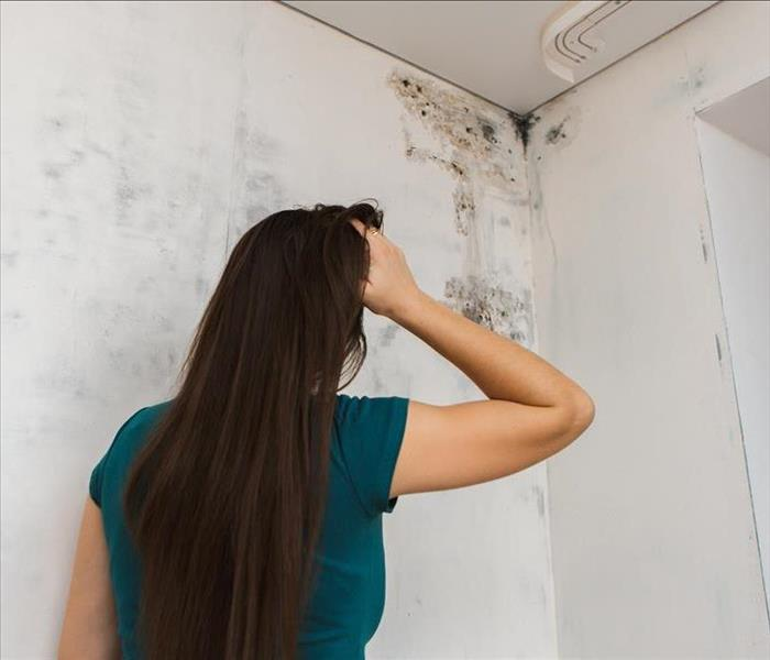 Girl with hand on her head looking at mold in the top of the corner of a wall