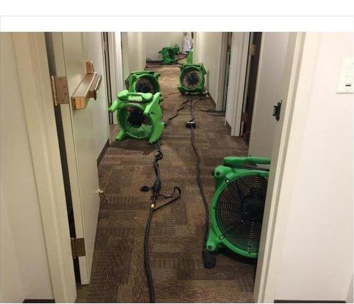 air movers in a hallway
